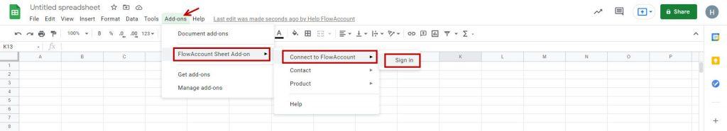 FlowAccount Sheet Add-ons