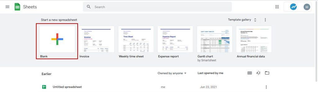 Start a new spreadsheet
